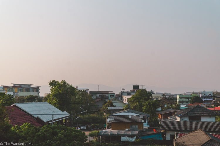 The view from Sophie and Dan's hostel in Chiang Rai, Thailand, during sunrise.
