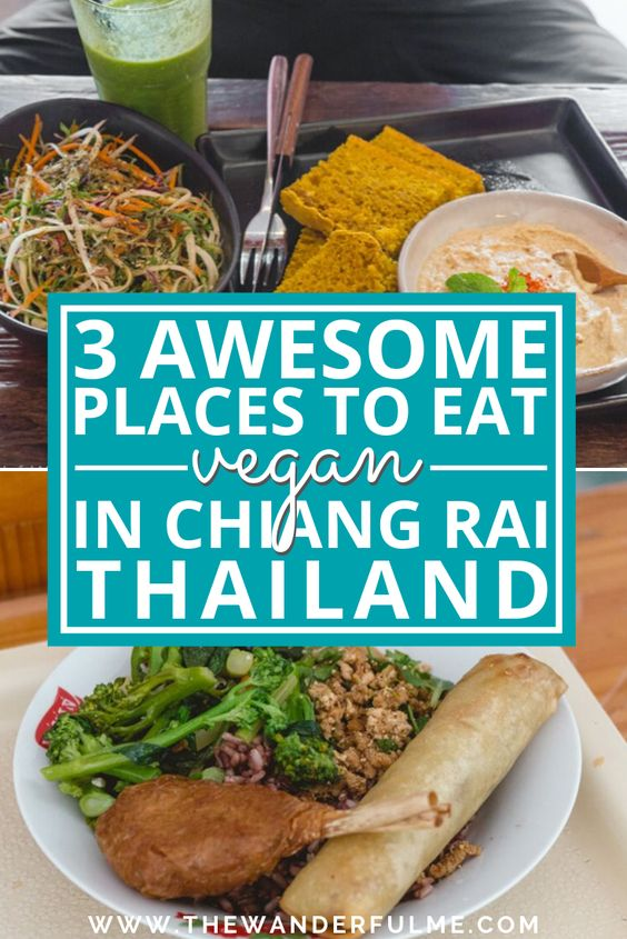 Want to know the best places to eat vegan in Chiang Rai, Thailand? Here are your 3 best options to get your fill of yummy vegan food! From vegan drumsticks and duck to vegan mango sticky rice and salads, you can bet those are all on this list! Check this list out if you're backpacking Thailand and are in Chiang Rai. | #chiangrai #thailand #vegan #foodie #travel
