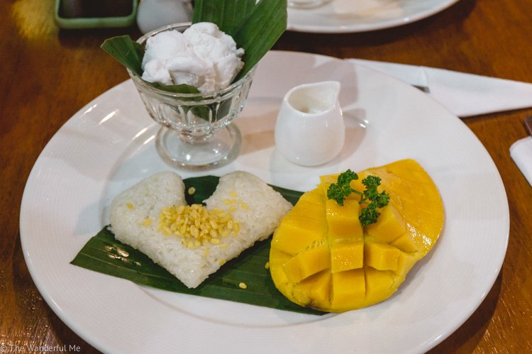 Incredible vegan mango sticky rice paired with a creamy coconut ice cream from the Connect Cafe in Chiang Rai.