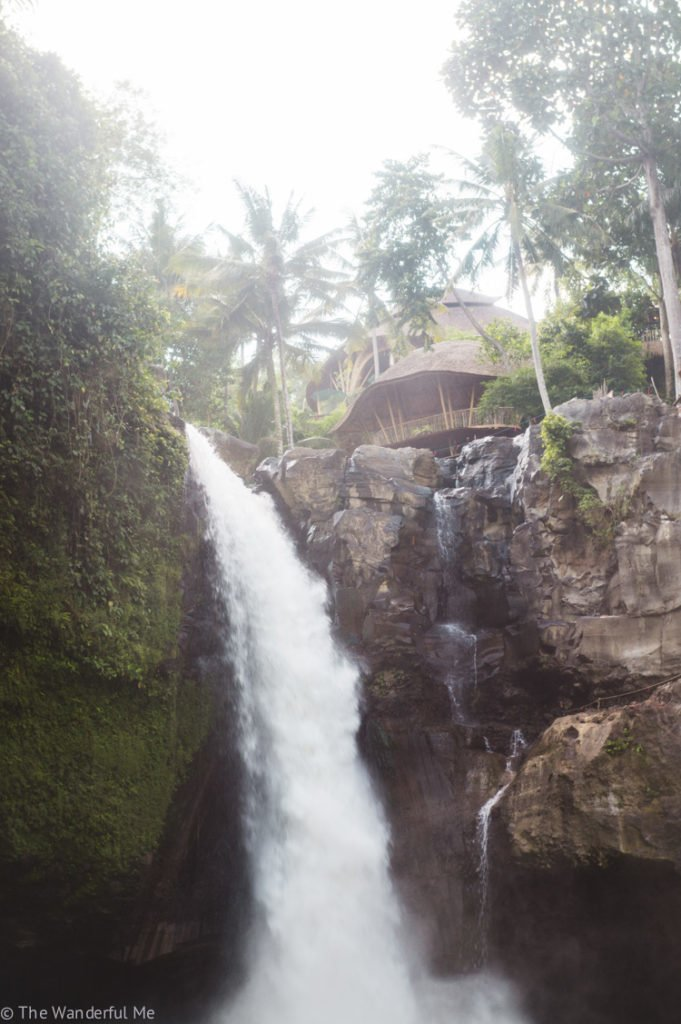Tegenungan waterfall is a popular Ubud waterfall. It falls from a high cliffside and is surrounded by dense jungle, a small bamboo hut, and a tall jungle swing.