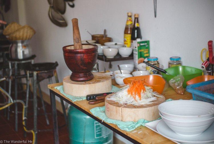 A pile of young papaya shredded, getting ready to make papaya salad!
