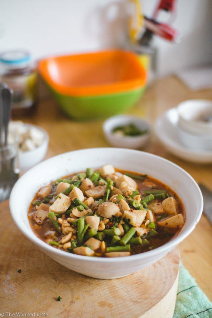 Steaming vegan Tom Yum soup!
