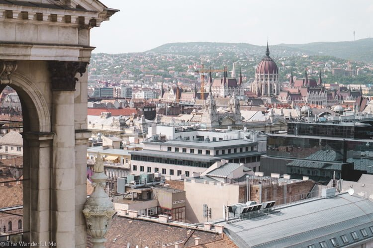 A view overlooking the city of Budapest, captured from St. Stephen's Basilica.