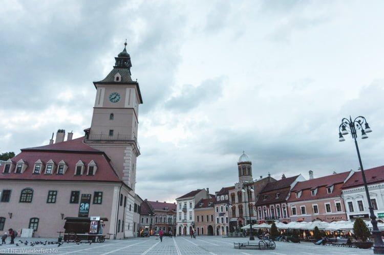 The main square in Brasov, Romania.