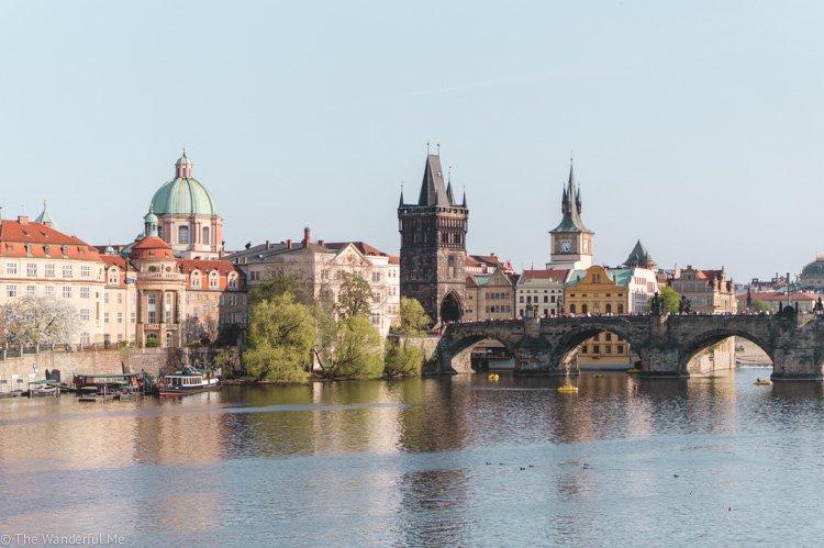 A far off view of the Charles Bridge in Prague, Czech Republic.