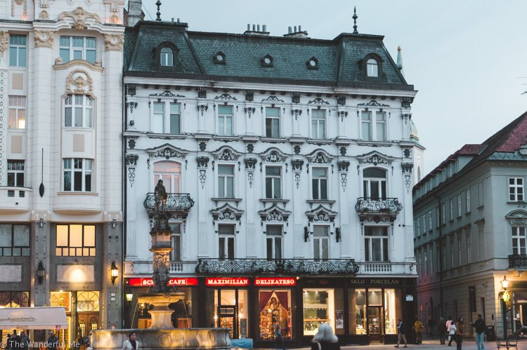 A building with detailed architecture in Bratislava, Slovakia.