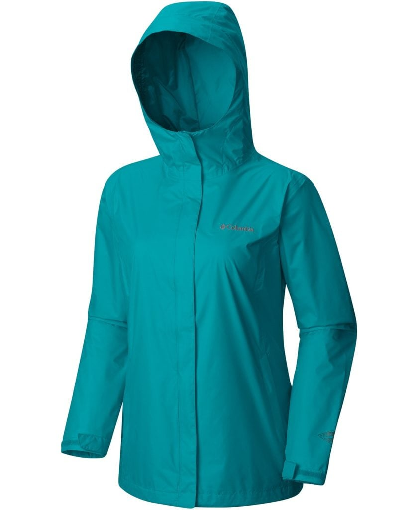 The Columbia Acadia II lighweight rain jacket is handy when you get caught in nasty downpours.