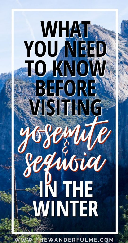 Thinking of visiting Yosemite and Sequoia National Park in the winter season? Here's everything you need to know before you go! (Like how you need to bring more blankets than you think and what animals to keep an eye on! Hint: it's not bears...) #yosemite #sequoia #nationalpark #usa