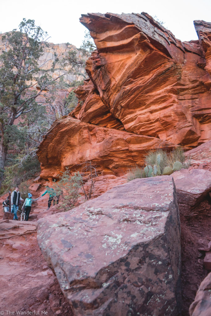 Mind-blowing red red formations you see while hiking Devil's Bridge trail.
