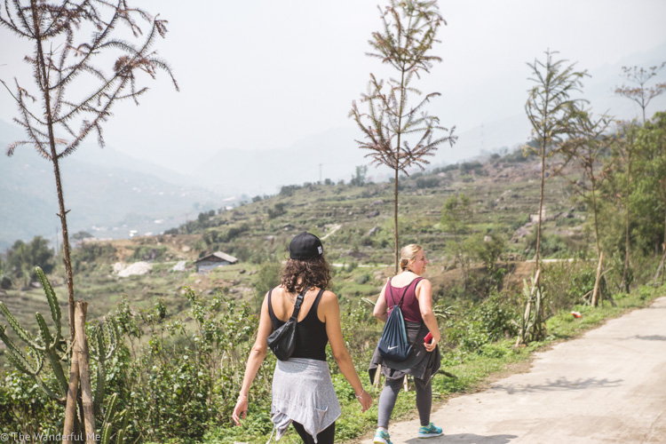 Sophie and a friend, Emma, doing some Sapa trekking, a top place in Northern Vietnam to hike the hills!