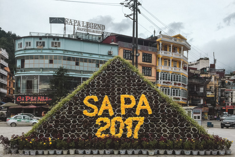 Sapa 2017 sign, located in Sapa town.