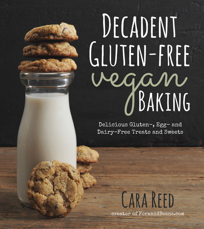 The book cover to Cara Reed's Decadent Gluten-Free Vegan Baking recipe book.