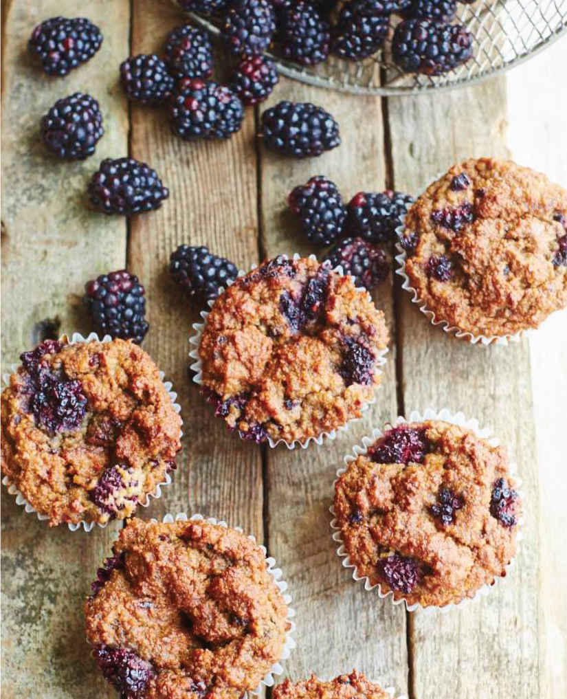 Some blackberry muffins from Laura Miller's Raw. Vegan. Not Gross. recipe book.