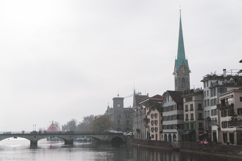 Looking over the river in Zurich's city center.
