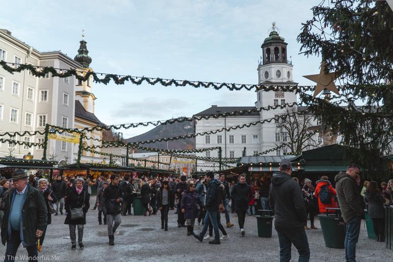 Salzburg's main Christmas Market in the Residenplatz.