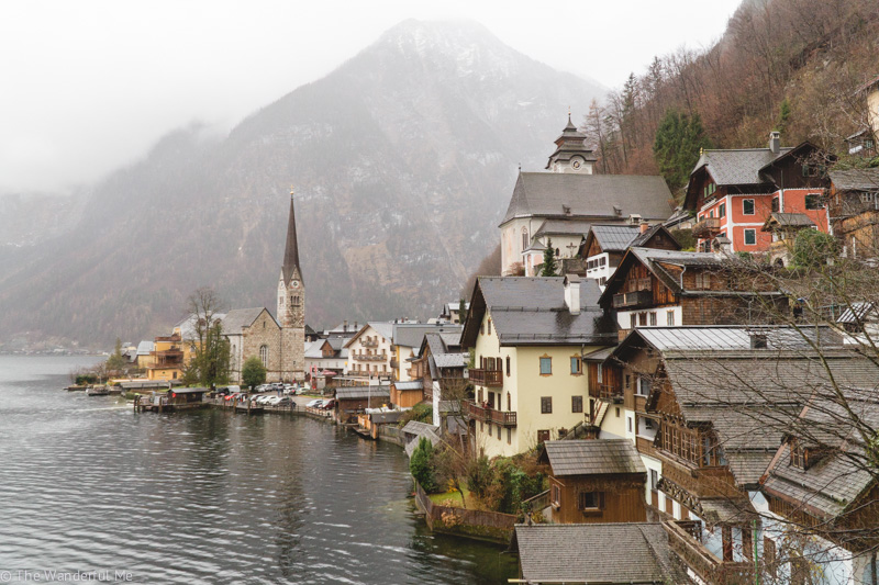 The quaint village of Hallstatt with its little church tower and picturesque village homes.