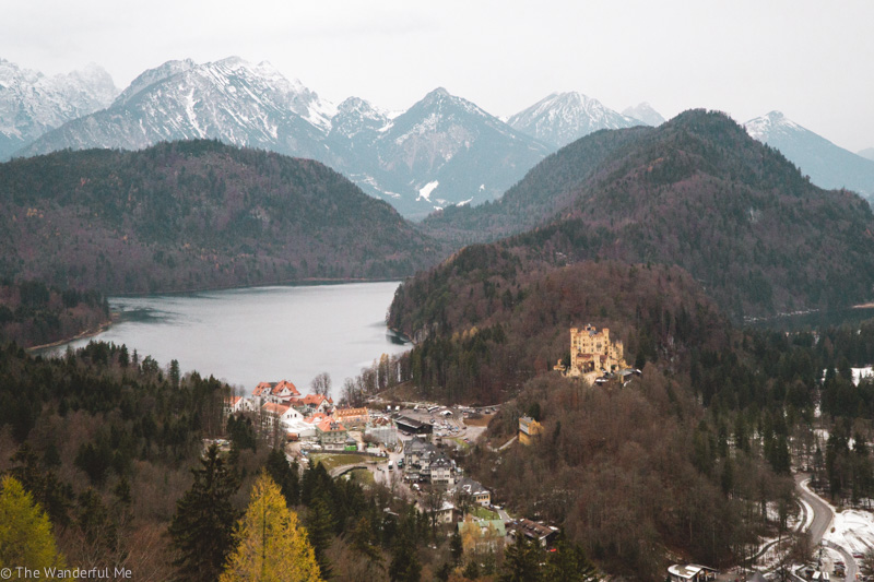 A view from the Neuschwanstein Castle overlooking the Bavaria mountains and lakes.