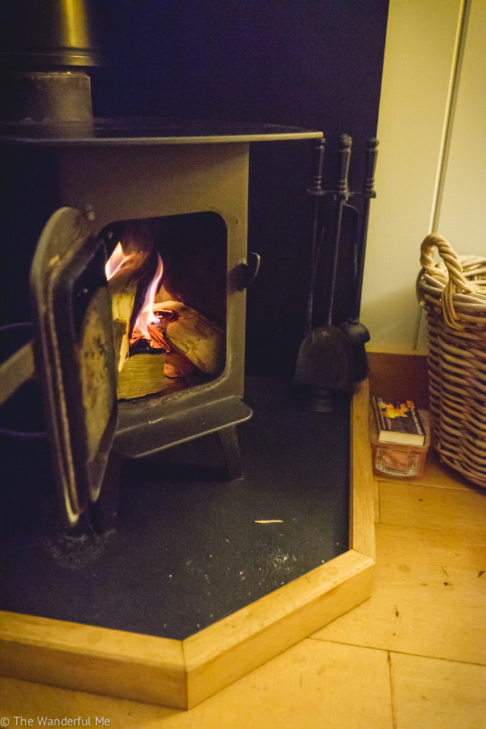 A roaring fire in the Airbnb's log burning stove.