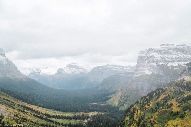 Many mountains surround a lush valley in Glacier National Park.
