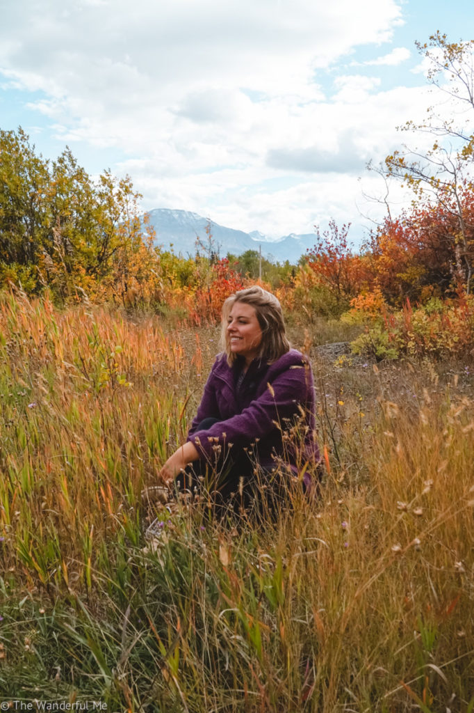 Sophie poses in a field of reds, yellows, and oranges while mountains are featured behind her.