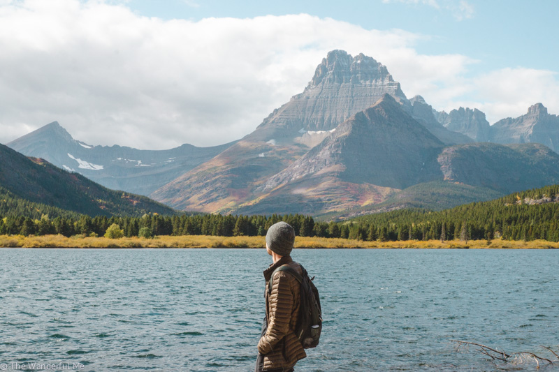 Dan admiring the mountainous views and Swiftcurrent Lake.