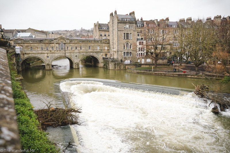 Overlooking the River Avon's weir with the gorgeous Pulteney Bridge in the background.