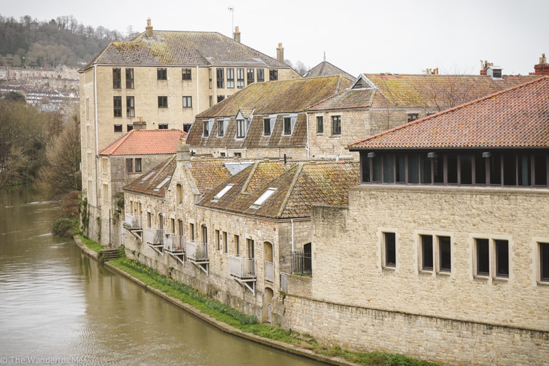 Overlooking the buildings hugging the River Avon's bank.