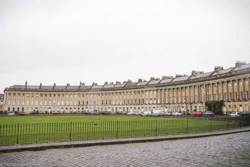 A far away view of the Royal Crescent where you can barely see the yellow door of No. 22.