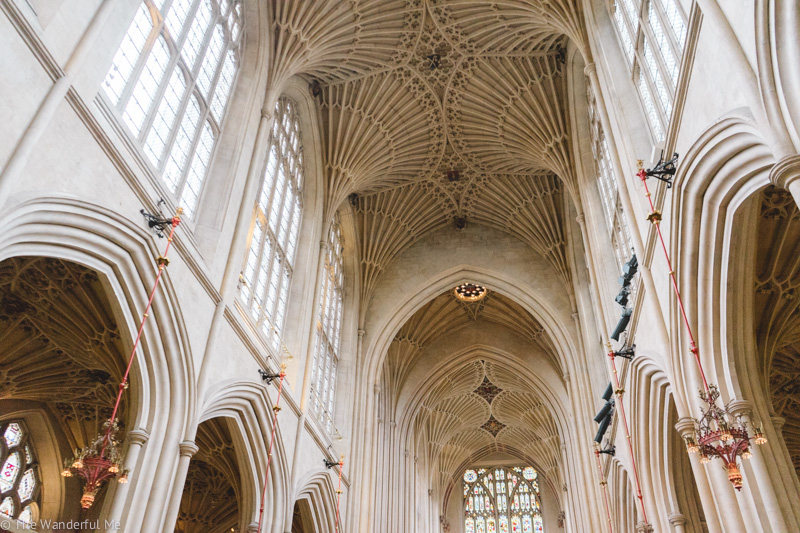 Looking at the beautiful arched ceiling of Bath Abbey.