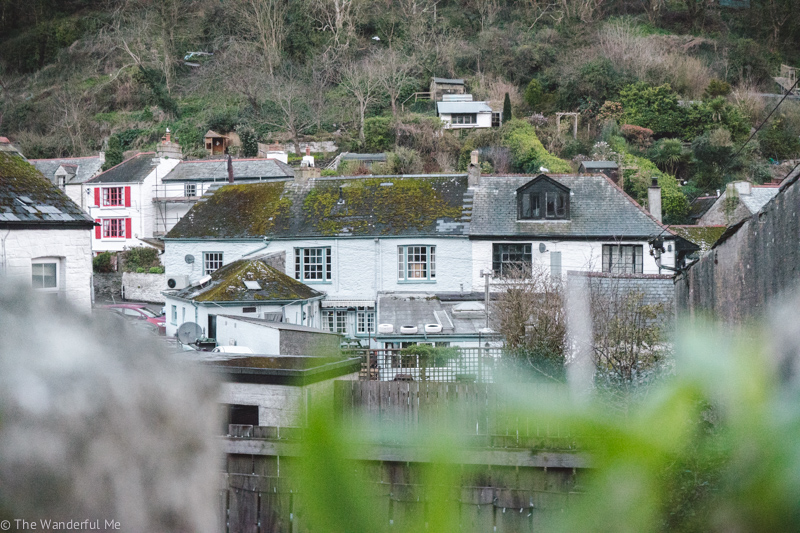 Peeking out behind some greenery at the Polperro cottages and homes.