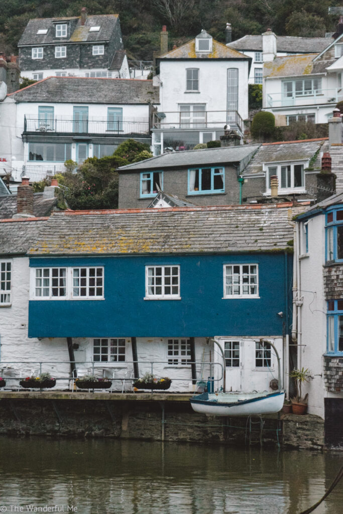 The gorgeous blue and white Polperro cottages hugging the steep hillside.