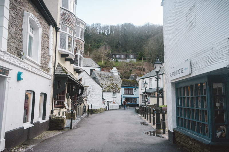 An empty street in Polperro, a quaint seaside village in Cornwall, England, because it's off-season.