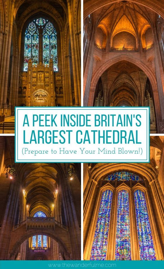 Curious to get a peek inside Britain's largest cathedral? Absolutely breathtaking, the Liverpool Cathedral has stunning stained glass windows, towering arches, and beautifully tall ceilings. It looks like Hogwarts! | #britain #liverpoolcathedral #england #inspiration #uk #unitedkingdom #cathedral #liverpool