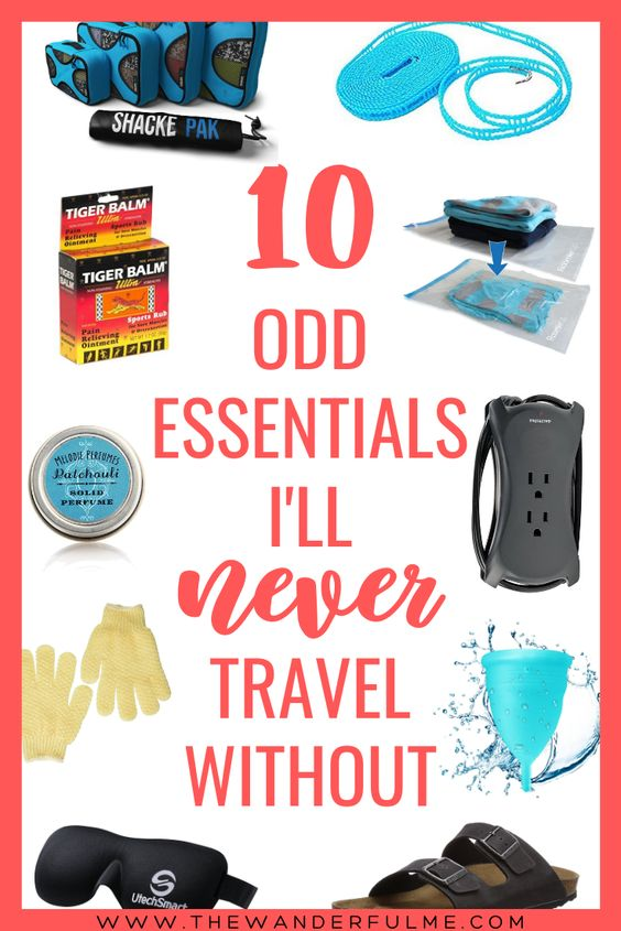 If you need some help packing your bag for your upcoming trip, here are my favorite 10 odd essentials that I never forget to travel with. #packing #essentials #whattopack
