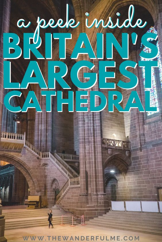 Ready to have your mind blown? Take a peek inside Britain's LARGEST cathedral! Aka the gorgeous Liverpool Cathedral. A beautiful Catholic and Anglican cathedral, it features endless columns, towering ceilings, breathtaking stained glass, and more, you're going to want to see this England cathedral (it's maybe the most beautiful in the UK!). | #cathedral #liverpool #england